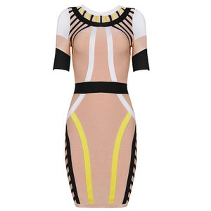 "Image of ""Olufolake"" Multi Black White Yellow Nude Bandage Bodycon Pencil Midi Dress"