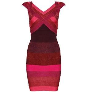 """Image of """"Amanda"""" Coral Red Watermelon Bandage Bodycon Pencil Midi Dress"""