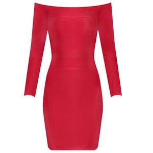 "Image of ""Shana"" Red Off Shoulder Bandage Bodycon Midi Pencil Dress"