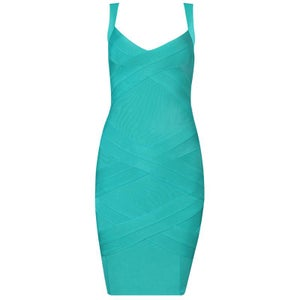 "Image of ""Evelyn"" Green Turqouise Cross Back Bandage Bodycon Midi Pencil Dress"