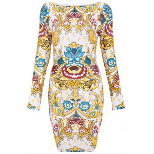 Image of Multi Color Royal Bandage Bodycon Midi Pencil Dress