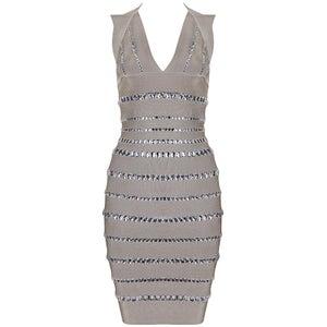 "Image of ""Lorena"" Beige Mocha Rhinestone Diamante Bandage Bodycon Midi Pencil Dress"