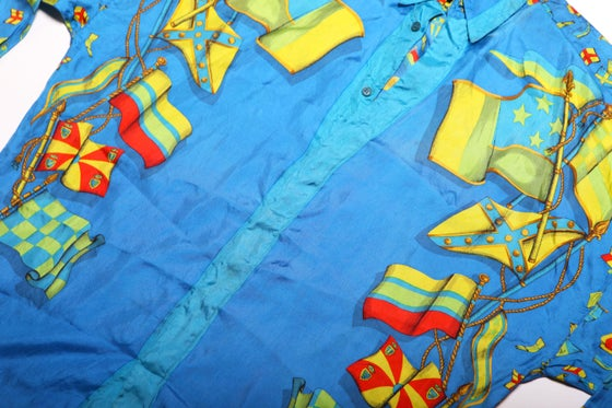 Image of VINTAGE VERSACE SILK FLAG SHIRT