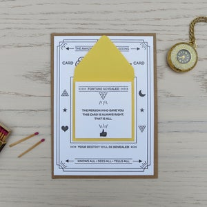 Image of fortune telling letterpress card: always right