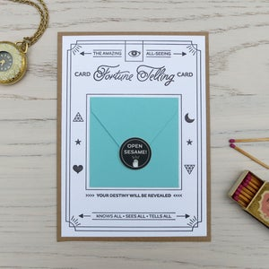 Image of fortune telling letterpress card: happiness