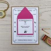 Image of fortune telling letterpress card: unicorn