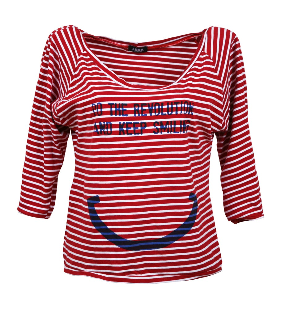 Image of DO THE REVOLUTION AND KEEP SMILING - Pulli rot/weiss ringel