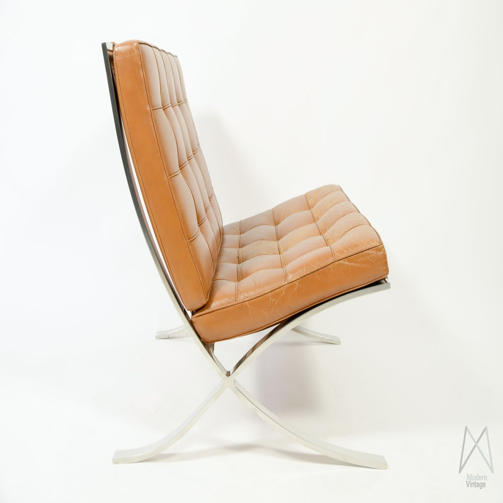 mies van der rohe barcelona chair cognac leather vintage original. Black Bedroom Furniture Sets. Home Design Ideas
