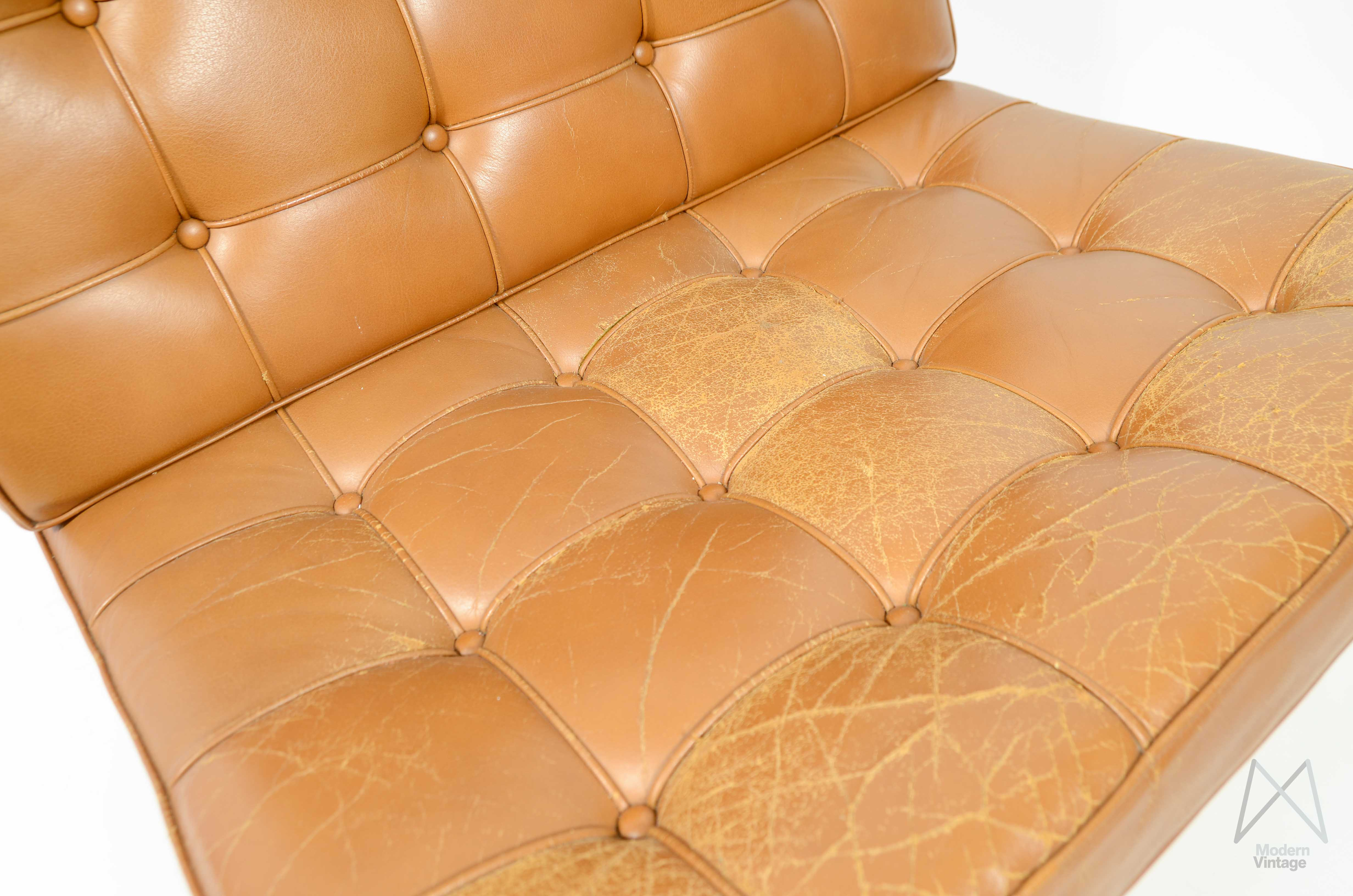 ... Image Of Mies Van Der Rohe Barcelona Chair Cognac Leather Vintage  Original Knoll