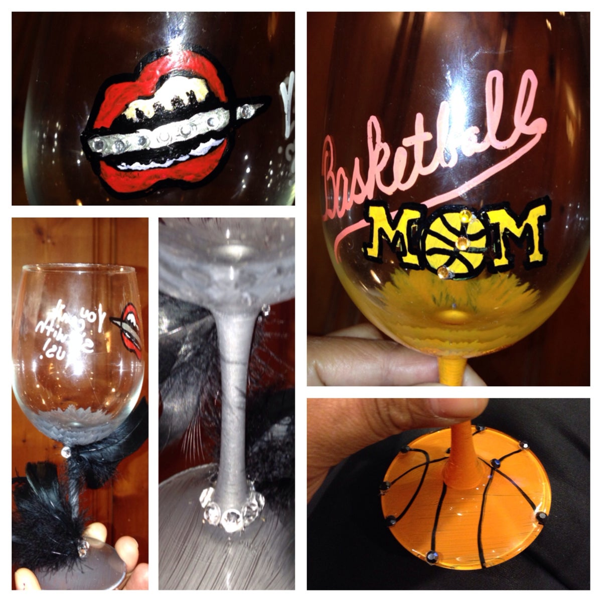 Crystals c me hand painted pieces Big w wine glasses