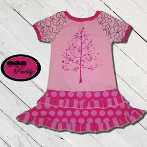 Image of **SOLD OUT ** Pink Tree Cancer Awareness double ruffle dress - size 3/4