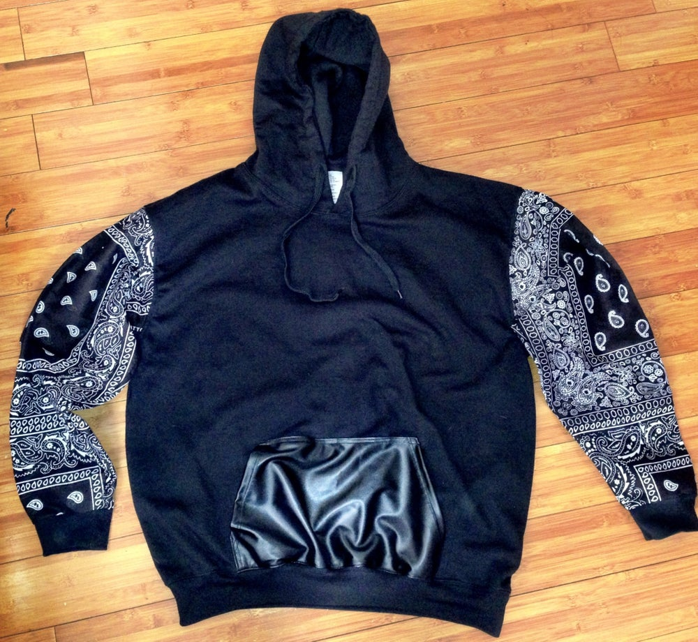 Image of Bandana Sleeves w/Blk leather pocket hoodie