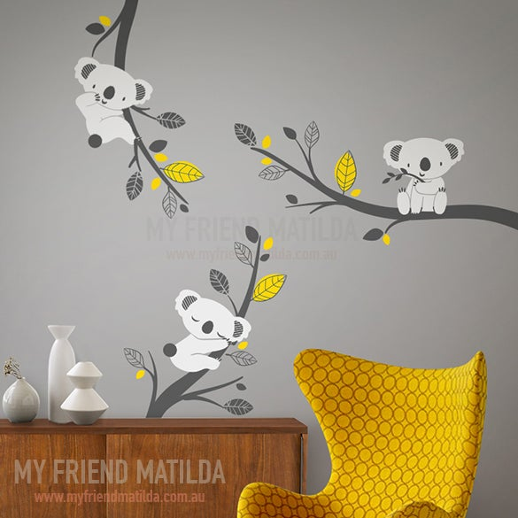 Cute koalas on branches adorable wall decals for nursery for Collant mural hibou