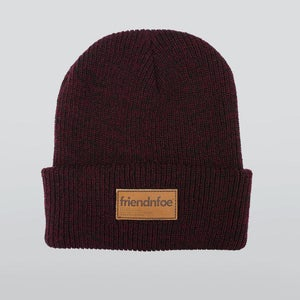 Image of Burgundy Leather Patch Beanie