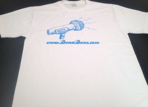 Image of DENA DONS METALLIC BLUE ON WHITE TEE SHIRT