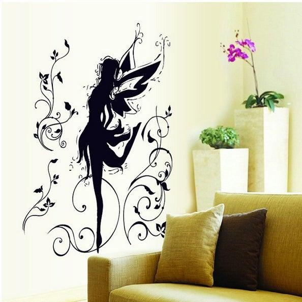 Vinyl Home Decor Wall Sticker Dancing Flower Elf Wall Decal