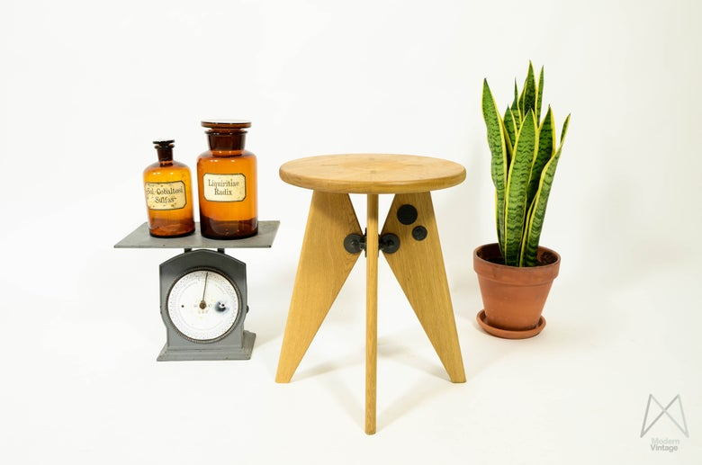 Image of Jean Prouve Tabouret Solvay Original Vitra Stool Authentic Design Stool
