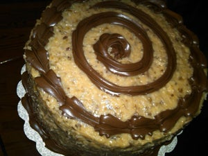 Image of German Chocolate Cake with Fudge Filling and Trim & Coconut-Pecan Frosting