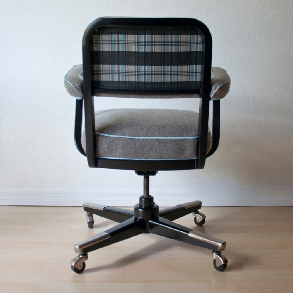 Vintage Tanker Desk Chair In Grey Wool Amp Plaid Dominique