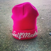 "Image of Ladies Pink ""SELFMADE"" Long Fold Beanie"