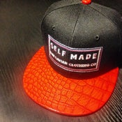 Image of Red croc embossed bill classic logo raw caviar snapback