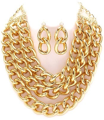 Image of MULTI LAYERED METAL NECKLACE AND EARRING SET