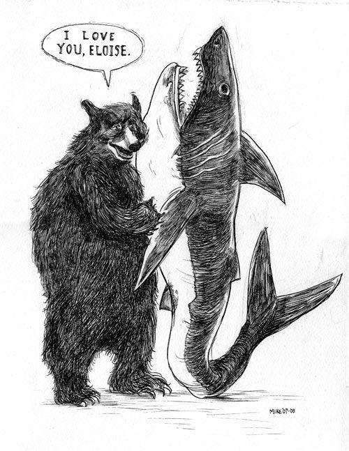 Image of Bear and Shark Print