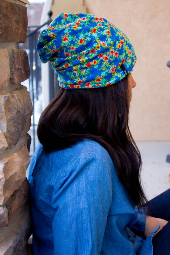 Image of Bright Floral Slouch Beanie