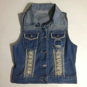 Image of Ladies - Jean vest with Rhinestones