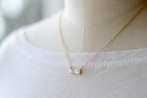 Image of Cubic Zirconia baguette necklace gold or silver