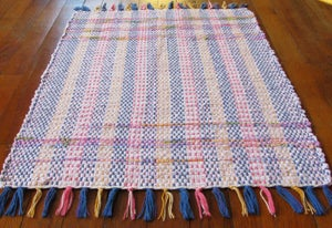 Image of Rag Rug - Pale pink, lime, blue, purple, lilac, yellow / Eco-Friendly upcycled fabric