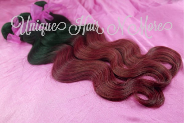 Image of Ombre-2 Color 1B/Burgundy Body Wave-8A