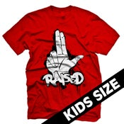 "Image of KY Raised Kid's 2 Finger ""L"" Raised Tee in Red"