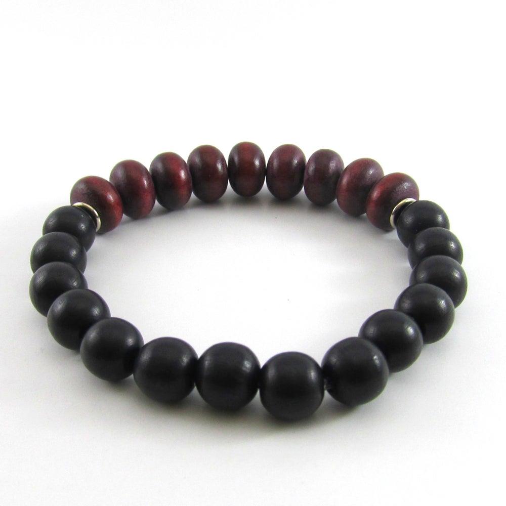 Image of Maroon Rondelle and black wooden beaded bracelet