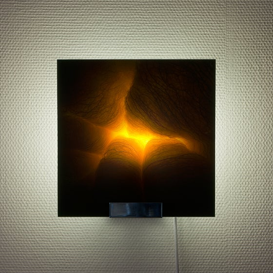 Image of Til Enda, limited edition sconce, picturing a chiaroscuro photography