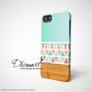 Image of Mint aztec wood pattern iPhone / Samsung case S558