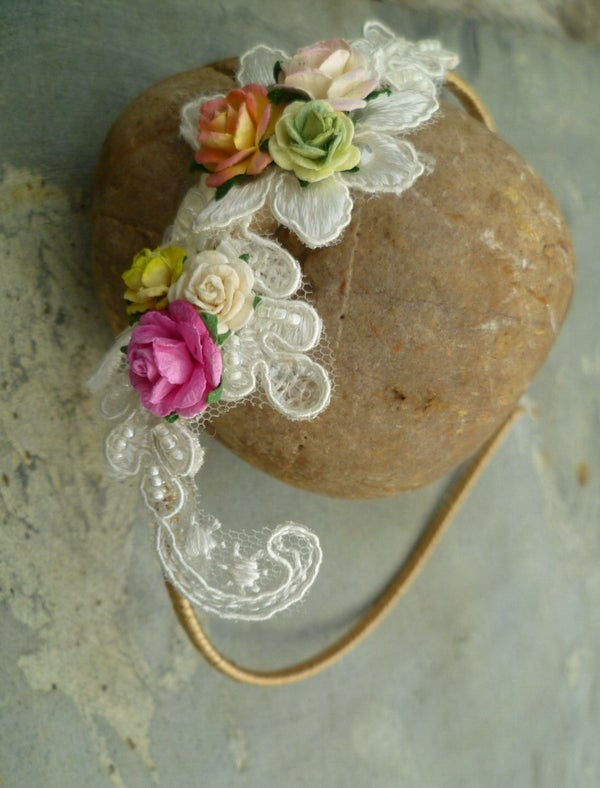 Ellie Bridesmaid Floral & Lace Headpiece - Laura Pettifar Designs