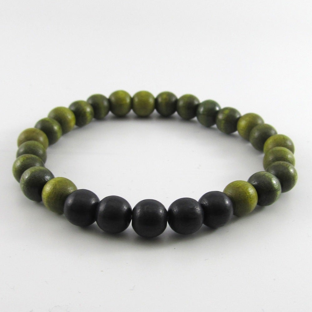 Image of Olive Green and Black Beaded Stretch Bracelet