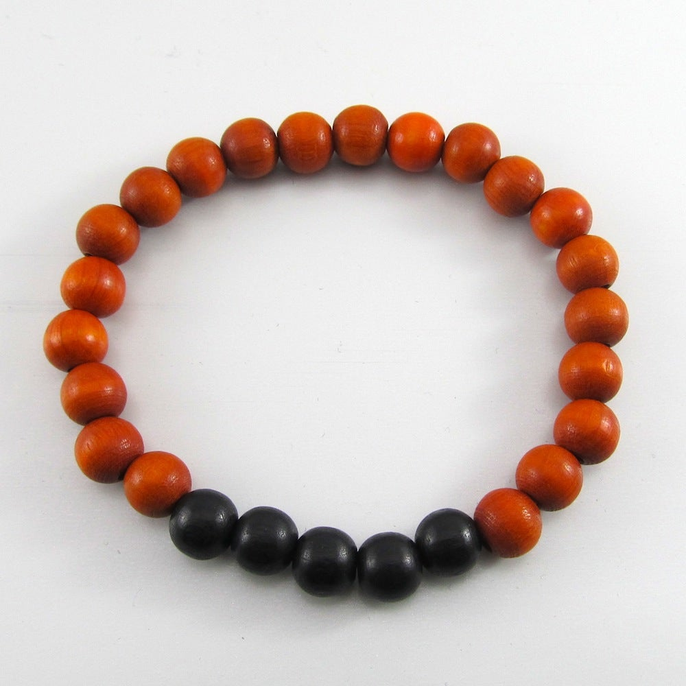 Image of Orange and Black Beaded Stretch Bracelet