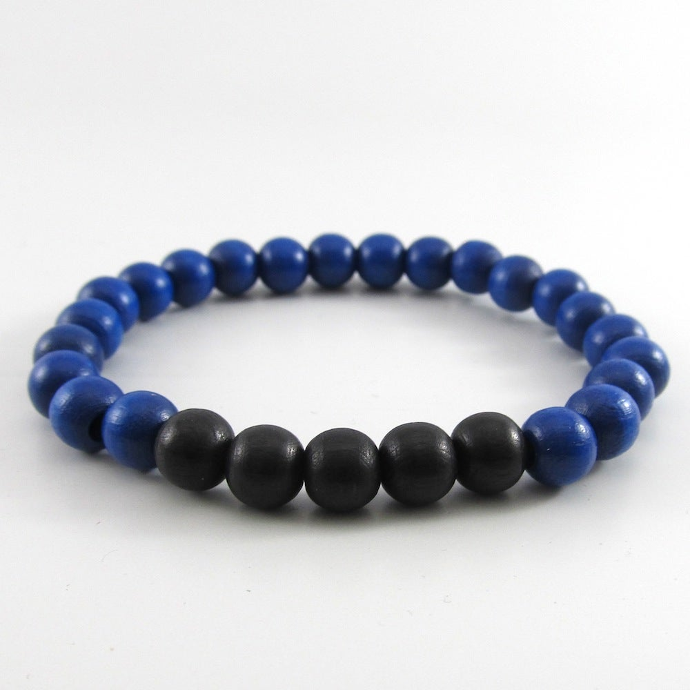 Image of Blue and Black Beaded Stretch Bracelet