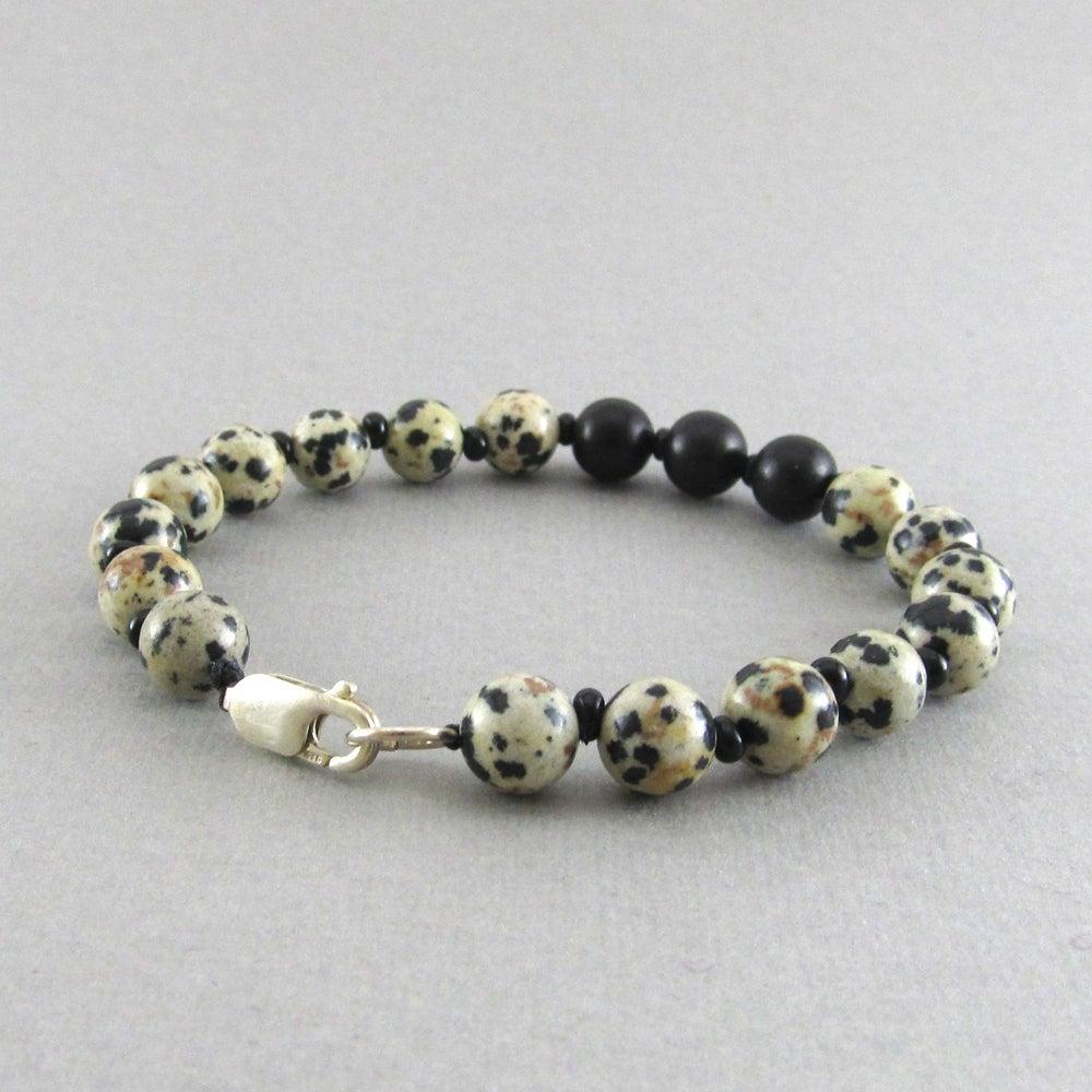 Image of Jasper Beaded sterling silver clasp bracelet
