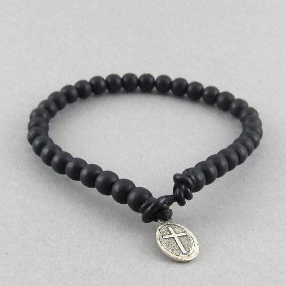Black Beaded Bracelet With Cross Fastening Jewellery By