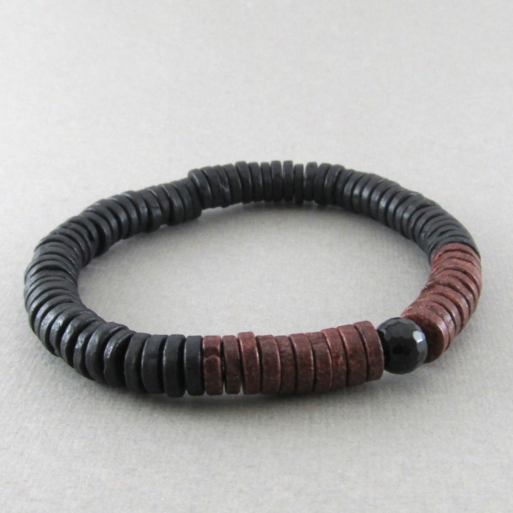 Image of Black and brown disc and faceted agate bracelet