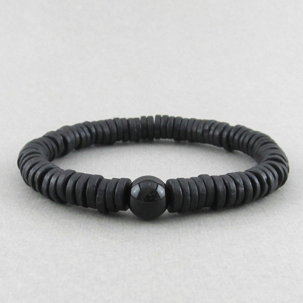 Image of Black ceramic disc and agate bracelet
