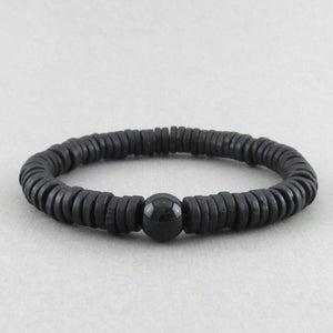 Image of Black ceramic disc and agate bracelet