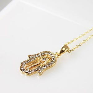 Image of Hamsa Rhinestone Gold Necklace, SW239