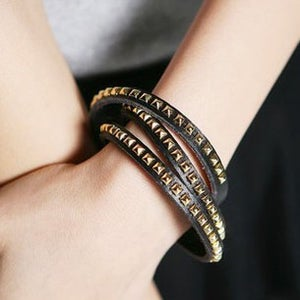 Image of Leather Wrapped Bracelet, SW252 Black, White or Brown