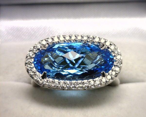 Image of 14K White Gold Blue Topaz / Diamond Ring