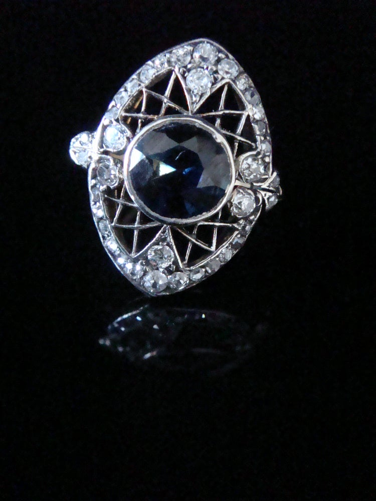 Image of Antique 18ct Edwardian Parti Sapphire and Diamond Ring