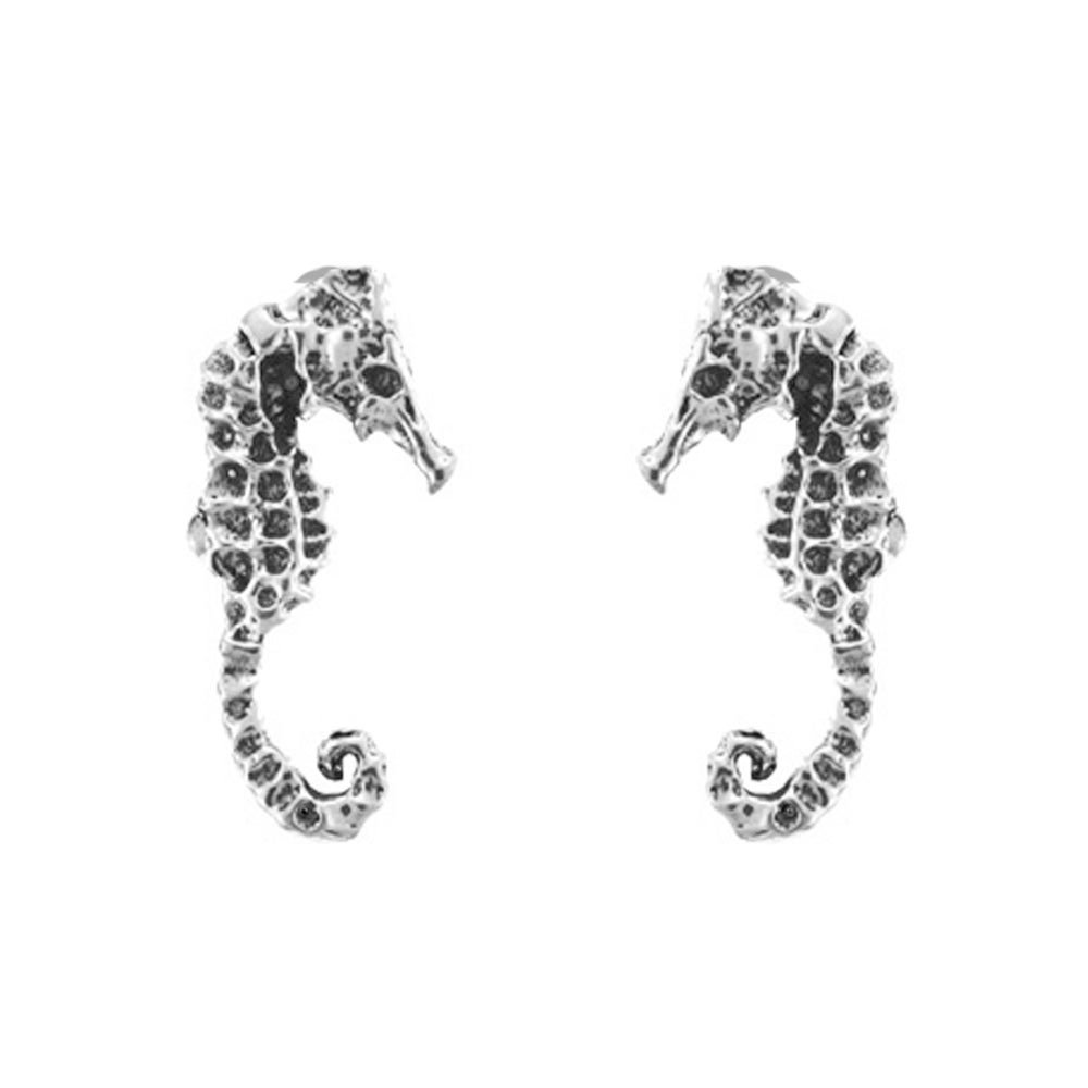 NauticalWheeler — Seahorse Stud Earrings in Sterling Silverseahorse